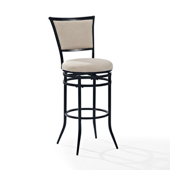 Black Barstool w/ White Cushion, Product  View