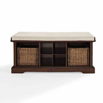 Brennan Entryway Storage Bench in Mahogony