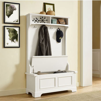Crosley Furniture Campbell Hall Tree, White Finish