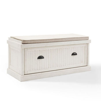 Crosley Furniture Seaside Entryway Bench, Distressed White Finish