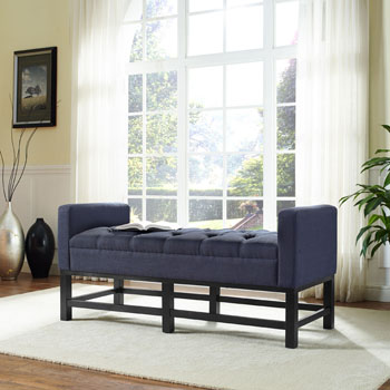 Bench w/ Navy Upholstery Lifestyle View 1