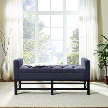 Bench w/ Navy Upholstery Lifestyle View 2