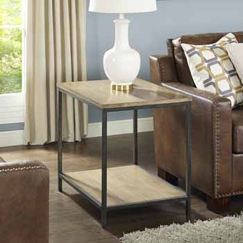 Crosley Furniture Brooke End Table, Washed Oak Finish