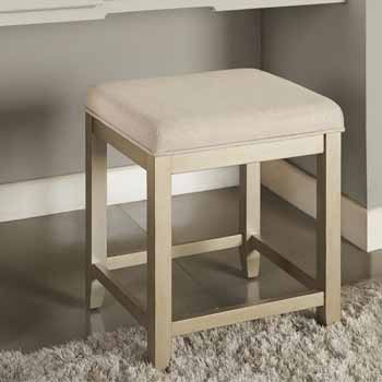 Crosley Furniture Vista Vanity Stool, Distressed Gold With Crème Linen Seat Finish, 15-3/4''W x 17-1/2''D x 19-1/4''H