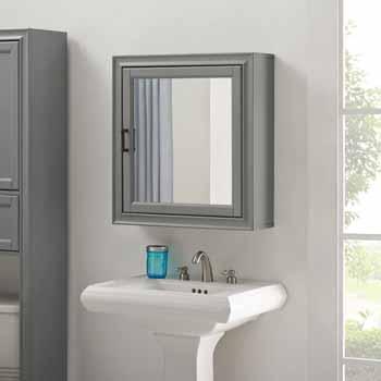 Crosley Furniture Tara Bath Mirror Cabinet, Vintage Gray Finish, 23-3/4''W x 7-1/2''D x 26''H