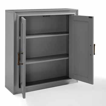 Crosley Furniture Tara Wall Cabinet, Vintage Gray Finish, 23-3/4''W x 8''D x 26''H