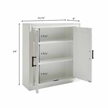 Crosley Furniture Tara Wall Cabinet, Vintage White Finish, 23-3/4''W x 8''D x 26''H