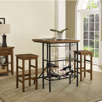 Crosley Furniture Sienna 3-Piece Casual Dining Set, with Table and 2 Stools, Moroccan Pine Finish