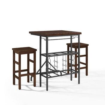 Crosley Furniture Sienna 3-Piece Casual Dining Set, with Table and 2 Stools, Rustic Mahogany Finish