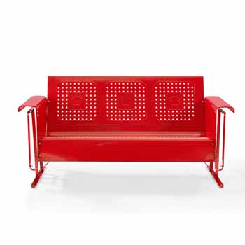 Crosley Furniture Bates Collection Outdoor Sofa Glider in Red, 65-3/4''W x 28''D x 32-1/2''H