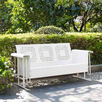 Crosley Furniture Bates Collection Outdoor Sofa Glider in White, 65-3/4''W x 28''D x 32-1/2''H