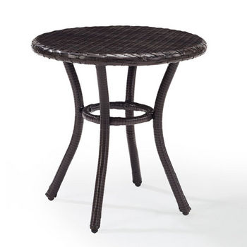 Crosley Furniture Palm Harbor Outdoor Wicker Round Side Table, Brown Finish