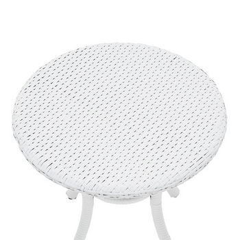 Crosley Furniture Palm Harbor Outdoor Wicker Round Side Table, White Finish