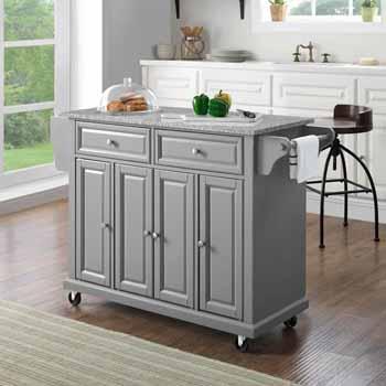 Crosley Furniture Portable Kitchen Cart Grey Granite Top KitchenSource
