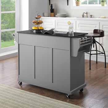 Crosley Furniture Portable Kitchen Cart Black Finish Granite Top KitchenSource