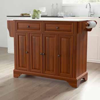 Crosley Furniture Kitchen Island Cart Cherry Finish KitchenSource