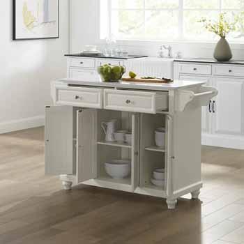 Crosley Furniture Kitchen Island Cart White Finish KitchenSource
