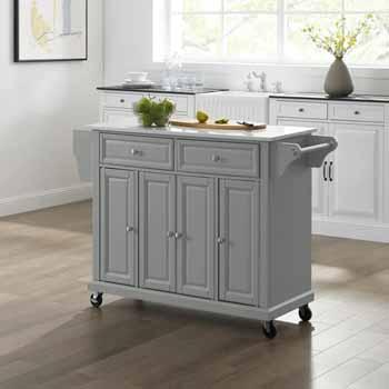 Crosley Furniture Kitchen Cart Grey KitchenSource