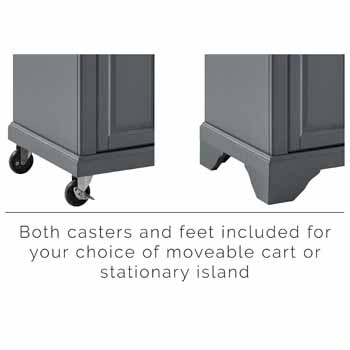 Crosley Furniture Kitchen Island Casters and Feet Included KitchenSource