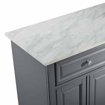 Crosley Furniture Kitchen Island White Finish Faux Marble Top KitchenSource