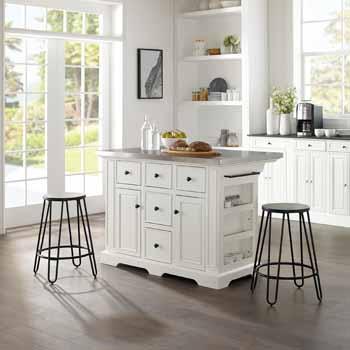 Crosley Furniture Kitchen Island Island with Ava Stools KitchenSource