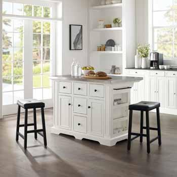 Crosley Furniture Kitchen Island Island with Black Finish Saddle Bar Stools KitchenSource