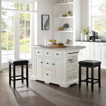 Crosley Furniture Kitchen Island Island with Square Bar Stools KitchenSource