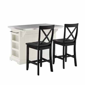 Crosley Furniture Kitchen Island Island with X-Back Bar Stools KitchenSource