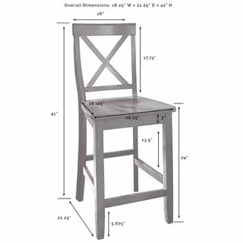 Crosley Furniture Kitchen Island X-Back Bar Stools KitchenSource