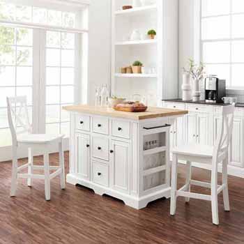 Wooden Top White Base & White Stools