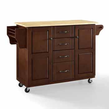 Crosley Furniture Eleanor Kitchen Island Cart with Wood Top KitchenSource