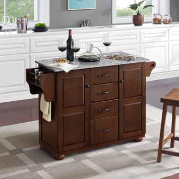 Crosley Furniture Eleanor Kitchen Island Island with Grey Granite Top KitchenSource