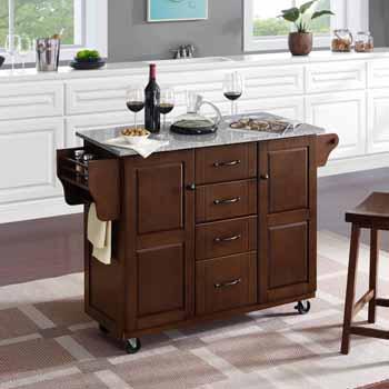 Crosley Furniture Eleanor Kitchen Island Cart with Grey Granite Top KitchenSource
