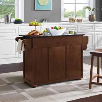 Crosley Furniture Eleanor Kitchen Island Island with Black Finish Granite Top KitchenSource