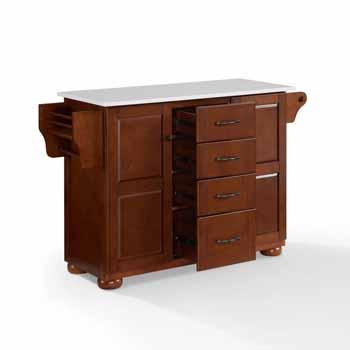 Crosley Furniture Eleanor Kitchen Island Island with White Finish Granite Top KitchenSource