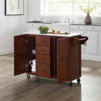 Crosley Furniture Eleanor Kitchen Island Cart with White Finish Granite Top KitchenSource