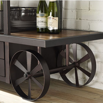 Crosley Furniture Porter Entertainment Console, Metal Frame with Distressed Wood Top