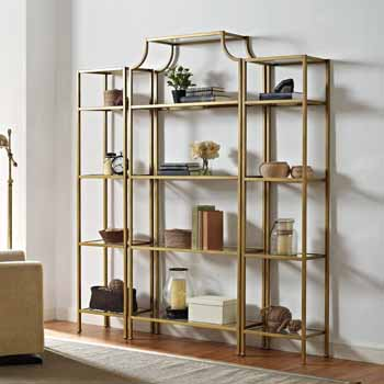 Crosley Furniture Aimee Antique Gold & Tempered Glass Étagère