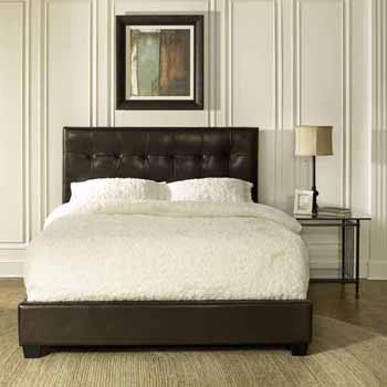 Crosley Furniture Andover Bed Set in Brown Leatherette Finish