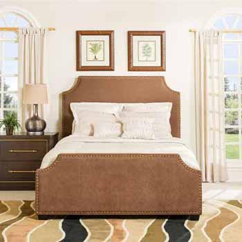 Crosley Furniture Brooks Bed Set, Cocoa Microfiber Finish