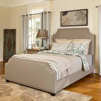 Crosley Furniture Brooks Bed Set, Shadow Gray Linen Finish