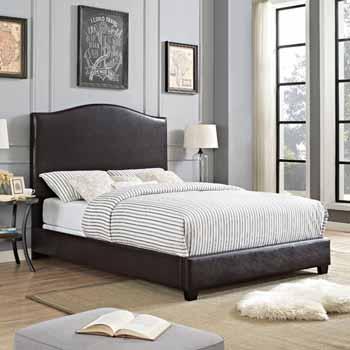 Crosley Furniture Bellingham Camelback Upholstered Bedset, Brown Leatherette Finish