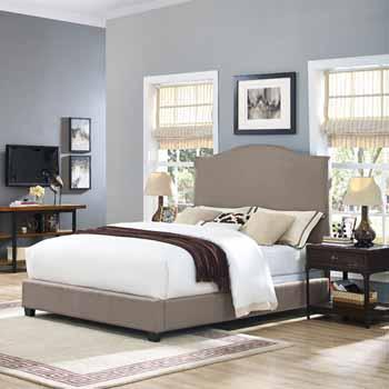 Crosley Furniture Bellingham Camelback Upholstered, Oatmeal Linen Finish
