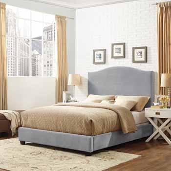 Crosley Furniture Bellingham Camelback Upholstered Bedset, Shale Microfiber Finish