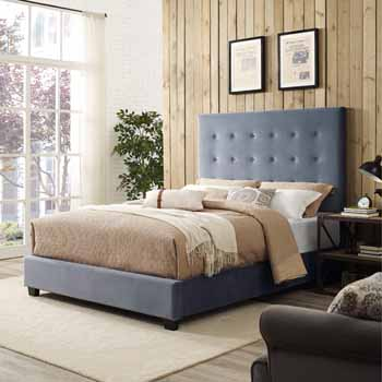 Crosley Furniture Reston Square Upholstered Bed Set, Cornflower Microfiber Finish
