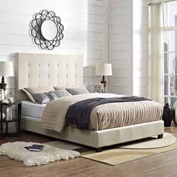 Crosley Furniture Reston Square Upholstered Bed Set, Crème Linen Finish