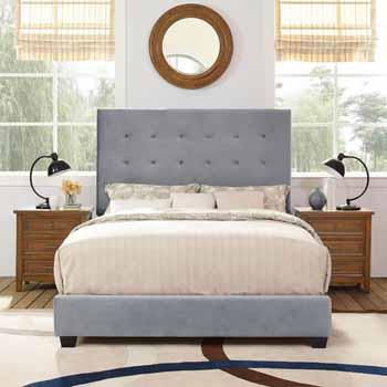 Crosley Furniture Reston Square Upholstered Bed Set, Shale Microfiber Finish