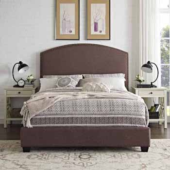 Crosley Furniture Cassie Curved Upholstered Bed Set, Bourbon Linen Finish