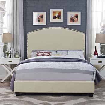 Crosley Furniture Cassie Curved Upholstered Bed Set, Crème Linen Finish