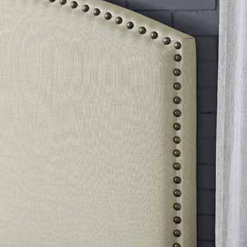 Crosley Furniture Cassie Curved Upholstered Bed Set, Crème Linen Finish